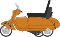 Oxford Diecast 76SC003 Scooter & Sidecar Orange