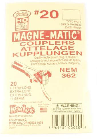 20KADEE NEM362 Kadee coupling - Extra-Long (11.68mm) - Pack of four