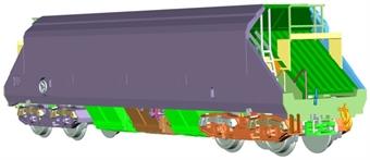 2F-050-103 JHA 102 tonne aggregate hopper wagon (inner) in Foster Yeoman original livery - 19349