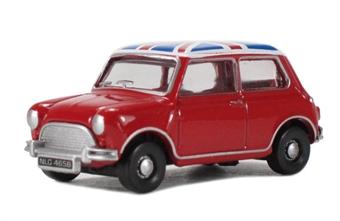 76MN001 Austin Mini - Tartan Red with Union Jack roof.