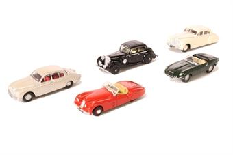 76SET14 5 piece Jaguar Collection - E type, XK120, Mk7, Series 2 & SS