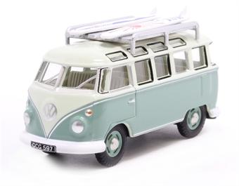 76VWS005 VW T1 Samba Bus/Surfboards Turquoise/Blue White