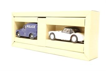 97722-PO01 'South Wales Police' set, with Morris Minor Van & MGA 1600 Mk1 - Pre-owned - Very good box