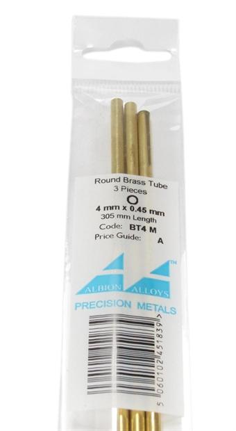 BT4M 4mm Brass Tube x 3