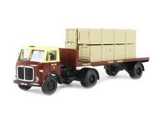 """DA81 AEC Mercury artic flatbed with long packing cases load """"British Railways"""" (circa 1955-1965)"""