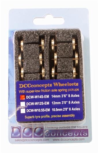 DCW-W14S-EM 14mm wheelset with pickup for EM gauge x 8