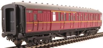 H7-TC175-005-GA Gresley Teak coach Diagram 175 Brake Corridor Composite unnumbered in BR maroon livery