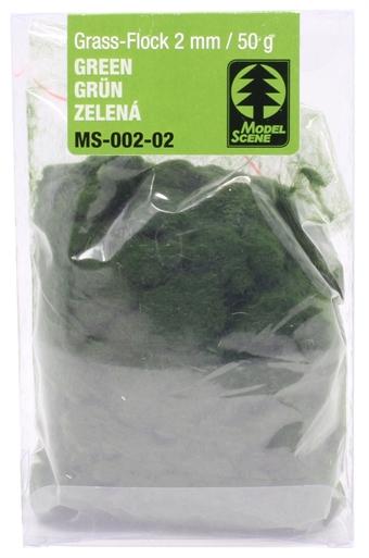 MS-002-02 Static grass flock - 2mm - green 50g