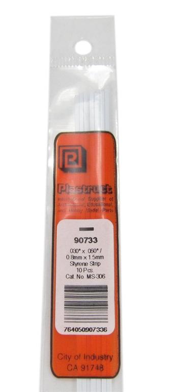 MS-306 90733 0.8x1.5mm Styrene Strip x10