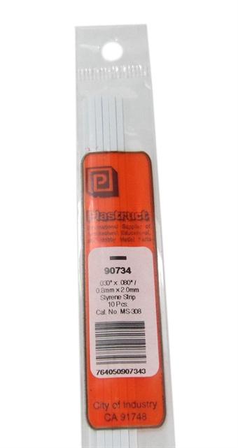 MS-308 90734 0.8x2mm Styrene Strip x10