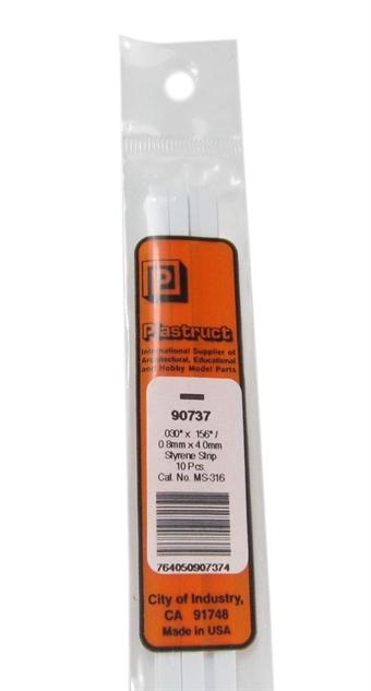 MS-316 90737 0.8x4mm Styrene Strip x10