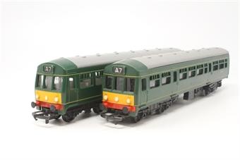 R157Railcar-PO17 Diesel Railcar & trailer M79079/M79632 - Pre-owned -  DCC Fitted - poor runner -fair box
