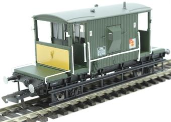 R6942 BR D1/507 20 ton brake van DB954812 in BR departmental olive with Railfreight Distribution branding